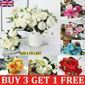 9Heads Artificial Flowers Silk Peony Fake Rose Wedding Home Party Garden Decor