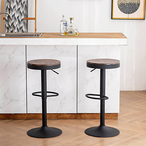 YOUNIKE Bar stools Wooden Barstools Vintage Rustic Counter Height bar Adjustable