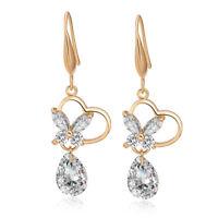 Women Yellow Gold Filled Heart Butterfly Teardrop Crystal Dangle Hook Earrings