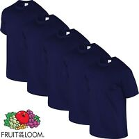 5 Pack NAVY BLUE Fruit of The Loom Cotton Mens Tshirt T Shirt Workwear Wholesale