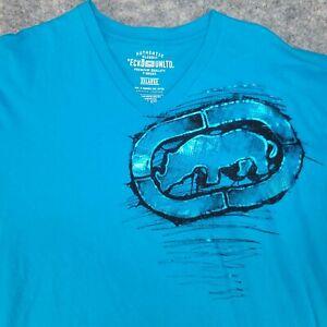 Ecko Unltd Men's T Shirt Rhino Graffiti V-Neck Blue Black Size XXXL