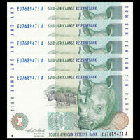 Lot 5 PCS, South Africa 10 Rand, ND(1993), P-123a, Banknote, UNC