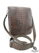 PELGIO Genuine Crocodile Alligator Skin Leather Cross Body Messenger Bag Brown