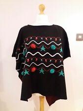 Bnwt New One Size QED LONDON Christmas Black Shawl Poncho Xmas Tree Jumper B
