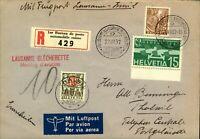 Switzerland 1937 Ler Bureau de Poste Automobile Registered Airmail to Thalwil wi