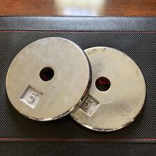 "🔥2 x 5lb Metal Weight Plates Standard 1"" Diameter Hole - Fast Free Shipping🔥"