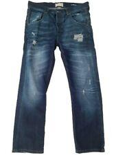 River Island Men's Dark Blue Ripped Denim Button Fly Straight Leg Jeans W32 L30