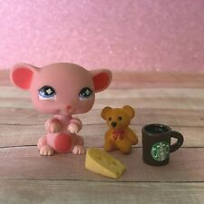 100% AUTHENTIC Littlest Pet Shop LPS #632 Pink Mouse w Accessories