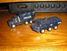 LOT of 2 Different 1/43 ? Police Cargo & 6 Wheeled Vehicles w/ pull back action