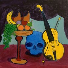 "ORIGINAL PAINTING STILL-LIFE BLUE SKULL VIOLIN 12x12"" CLASSIC ART M.Mercogliano"