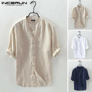INCERUN 100%Cotton V-Neck Shirt Men's Collarless Short Sleeve Hippy Causal Tops