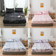 Marbling Printed Bed Sheets Flat Soft Bedding Mattress Protector Full Fitted