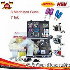 New Tattoo Machine Set Tattoo Kit 3 Tattoo Gun/7 Inks/Power Supply/Needle Grips