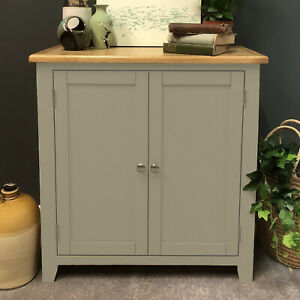 Grey Linen Chest Cupboard Storage Cabinet Sideboard Painted Solid Wood Grateley