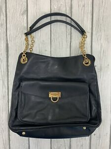 Salvatore Ferragamo Black Leather Gold Chain Shoulder Handbag Purse NEW