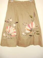 BCBG Cotton btown skirt Large Patch pink flower green stitching beads size 4
