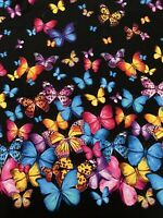 BTY Colorful Butterfly Fabric Timeless Treasures Cotton Masks Quilts Destash