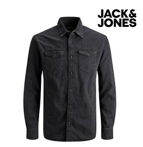 Jack & Jones Men's Long Sleeve Black Denim Shirt Slim & Stretch Fit All Sizes