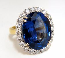 GIA Certified 22.61ct natural Blue Tanzanite diamonds ring 18kt Halo Royale