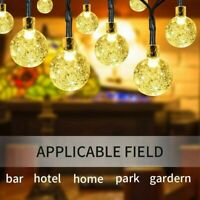 50 LED Solar Kugel Lichterkette Garten Außen Beleuchtung Lampe Party Licht Dekor