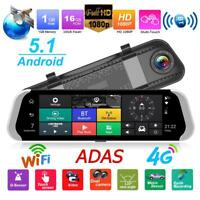 "10"" 4G 1080P WiFi Car Rearview Mirror DVR Camera Dual Lens Android Dash Cam GPS"