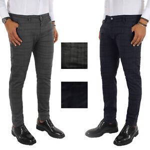 Pantalone Uomo Quadri Invernale Principe Galles Chino Jeans Elasticizzato VEQUE