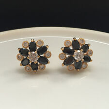 Women Marquise Zirconia Black Onyx CZ Stud Flower Earrings Yellow Gold Filled