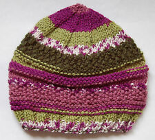 Hand knitted Baby Hat Green and Purple Self Striping Newborn