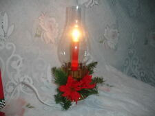 Vintage Noma Hurricane Globe Faux Oil Lamp Electric Candle Holly Christmas Light