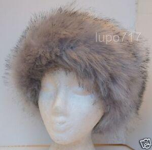 GREY MIX FLUFFY FAUX FUR HEADBAND HAT SKI EAR WARMER MUFFS ONE SIZE 60CM NEW
