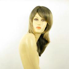 Perruque femme mi-longue Brun méché doré : COLINE 1BT24B