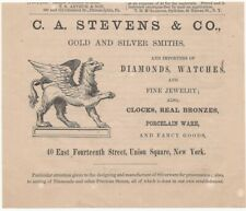 1867 C.A. STEVENS & CO. GOLD SILVER WATCH JEWELRY SMITHS NYC TRADE GRIFFIN AD