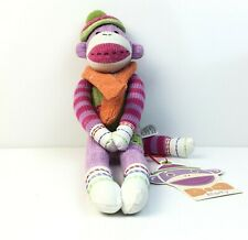 "Monkeez Knit Magnetic Sock Animal Plush Doll Toy Marty The Monkey 12"" tall"
