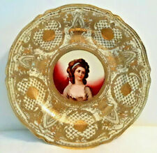 "New listing Antique Nippon Portrait Plate 10"" Porcelain Moriage Gold Gilt Victorian Elegant"