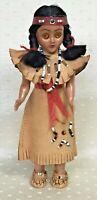"Vintage Indian Doll 7"" Leather Beaded Dress & Necklace, Sleepy Eyes"