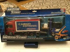 Motor Zone Service Trucks BLUE FORK LIFT and RED-TRUCK with pallets & Crate