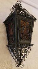 Antique Gothic Victorian Wrought Iron Hanging Amber Glass Pendant Lantern Light