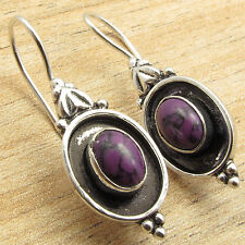 FOR JUST $0.99 ! TRIBAL Art Earrings, PURPLE COPPER TURQUOISE, 925 Silver Plated