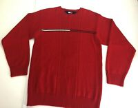 Tommy Hilfiger Womens sz L-XL Red Pullover Sweater Flag Logo Ribbed Crewneck