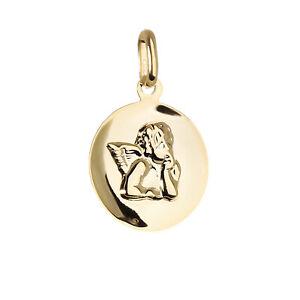 Kettenanhänger Gelb Gold 333 8 Karat Hochglanz diamantiert Taufe Kreuz Glaube
