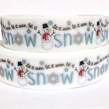 "Grosgrain Ribbon 1"" CHRISTMAS SNOWMAN S5 ( COMBINE SHIPPING ) USA SELLER"