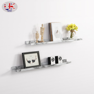 Set of 2 Floating industrial wall shelf 48cm with Marble PVC hanging decoration