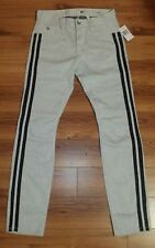 NWT $128 Guess Men's Fitted White Wash Semi Stretch Black Striped Jeans Size 32