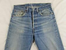Vtg USA Made Levi 501 Button Fly Hige Faded Denim Jean Tag 33x36 Measure 32x32
