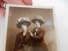 More details for edwardian girls real people in big glam hats  !  postcard portrait b