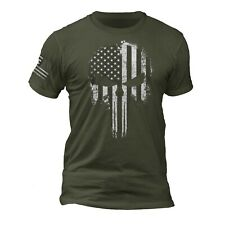 Punisher Skull USA Flag Patriotic Tactical Desaturated B&W Sleeve Print T-Shirt