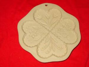 Brown Bag Cookie Mold Art Stamp - FOUR HEARTS - 1994 Hill Design