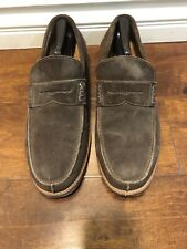 russel bromley London Mens Loafer Slip On Brown Suede Sz 9.5