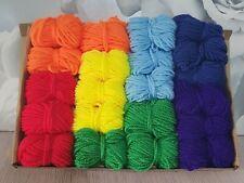 Rainbow Yarn Wool Job Lot Knitting Crochet Squares Pompom Crafts Toys Bundle DK