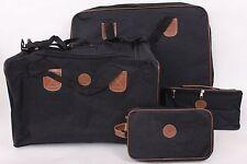 4 x LUGGAGE SET BLACK BROWN SUIT CASE TOTE TOILETRY MAKEUP BAG BNIB
